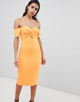 Image 1 of River Island Bardot Twist Front Bodycon Dress