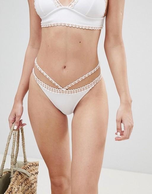 River Island - Bas de bikini taille basse à fil fantaisie