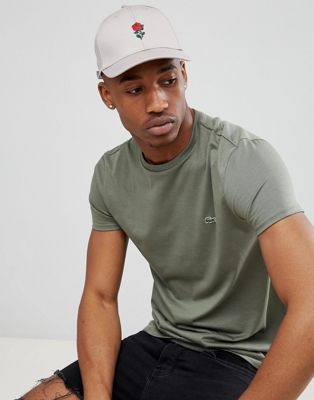 River Island Baseball Cap With Rose Embroidery In Stone