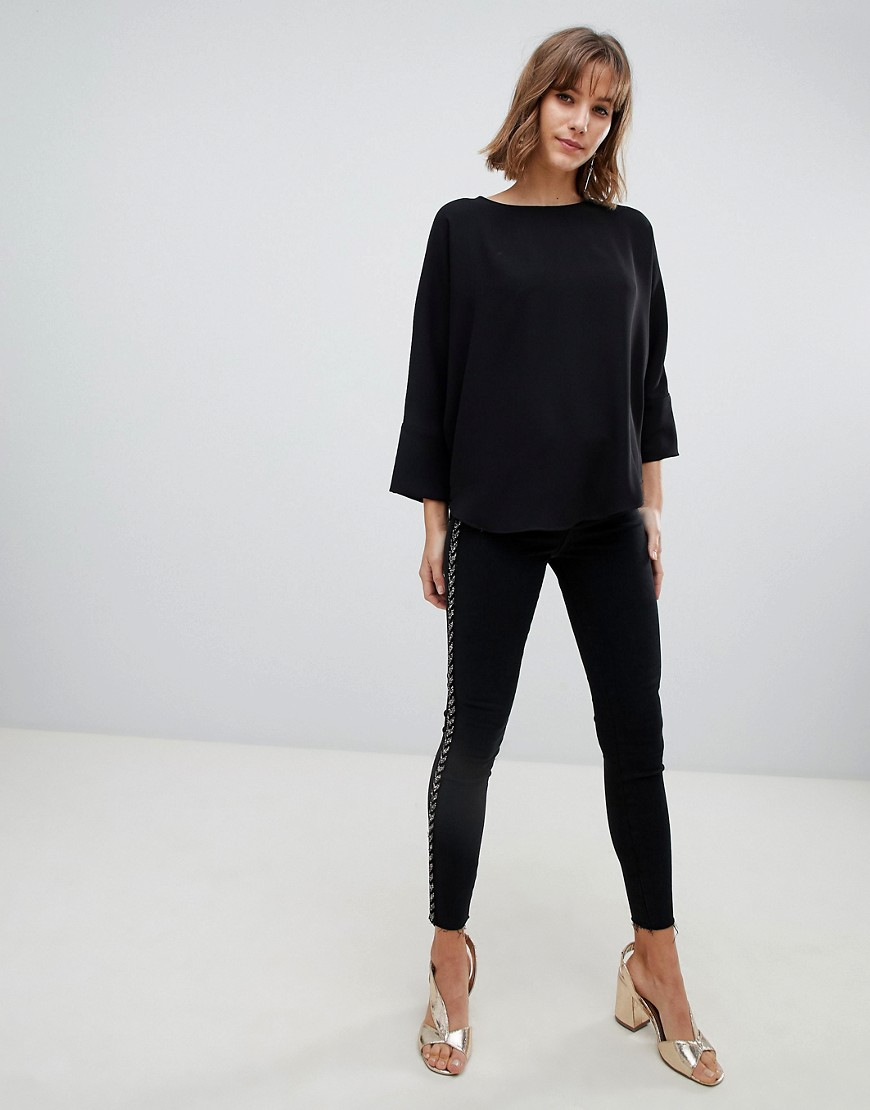 River Island Batwing Blouse In Black by River Island