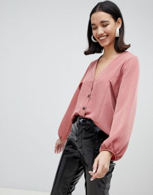 River Island batwing sleeve blouse with button front in pink