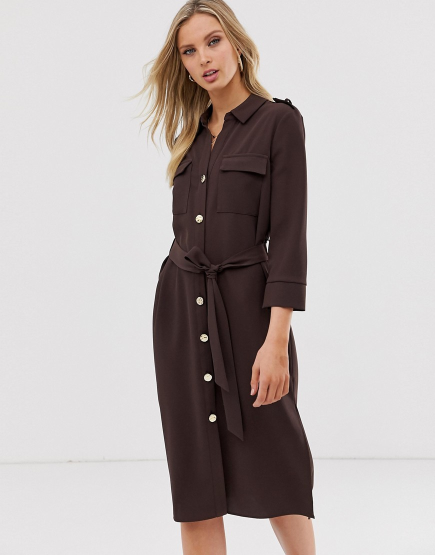River Island belted shirt dress in chocolate-Brown - River Island online sale
