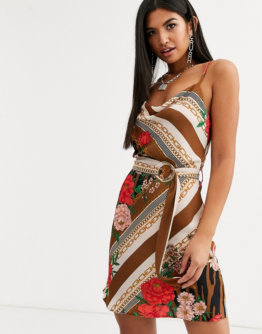 River Island Belted Slip Dress in Brown - River Island online sale