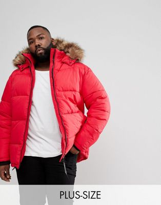 River Island Big and Tall Puffer Jacket With Faux Fur Hood In Red