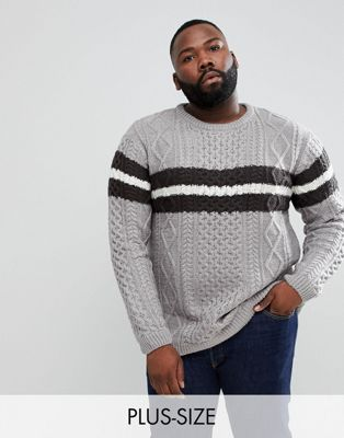 Image 1 of River Island Big & Tall cable knit jumper with stripe in grey