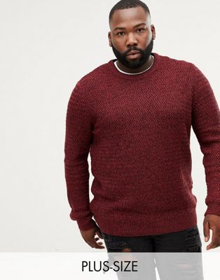River Island Big & Tall crew neck sweater in red