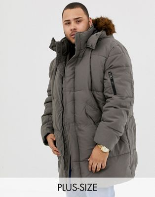 River Island Big & Tall parka coat in khaki