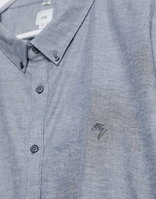River Island Big & Tall – Popielata koszula oxford z krÓtkim rękawem BWKU