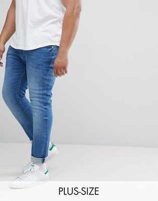 River Island big & tall skinny fit jeans in mid wash