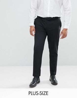 Image 1 of River Island Big & Tall slim fit smart pants in black
