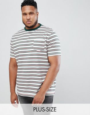 River Island big & tall t-shirt with stripes in white