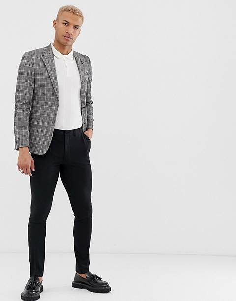 River Island blazer in grey check