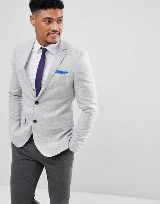 River Island Blazer In Light Grey Spec