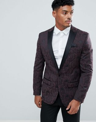 River Island Blazer With Paisley Print In Burgundy