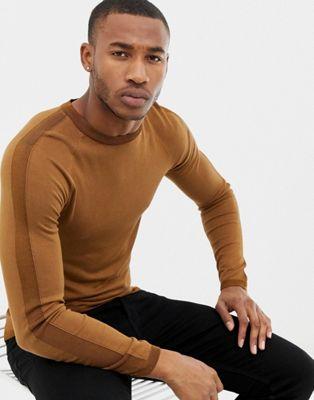 Bild 1 av River Island – Bronsfärgad tröja i muscle fit-modell