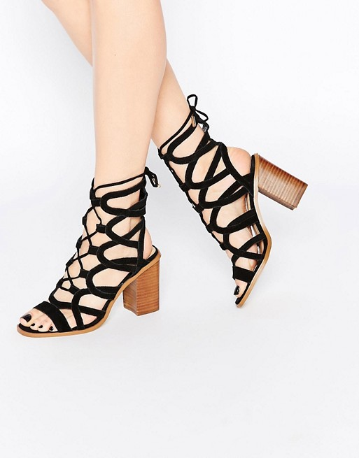Caged Island Tie River Block Heeled Up Sandal dxtBrshCoQ