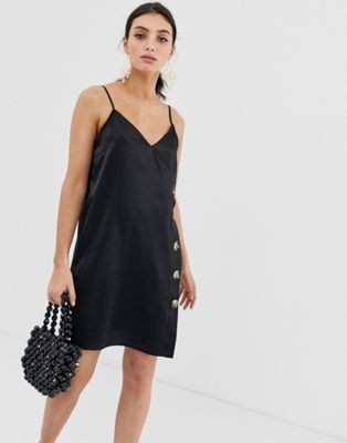 Image 1 of River Island cami dress with buttons in black
