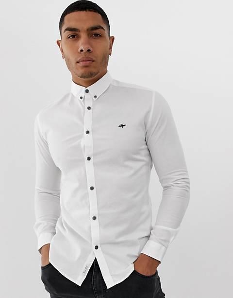 River Island - Camicia Oxford attillata bianca