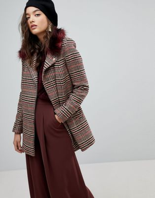 River Island Check Faux Fur Collar Coat