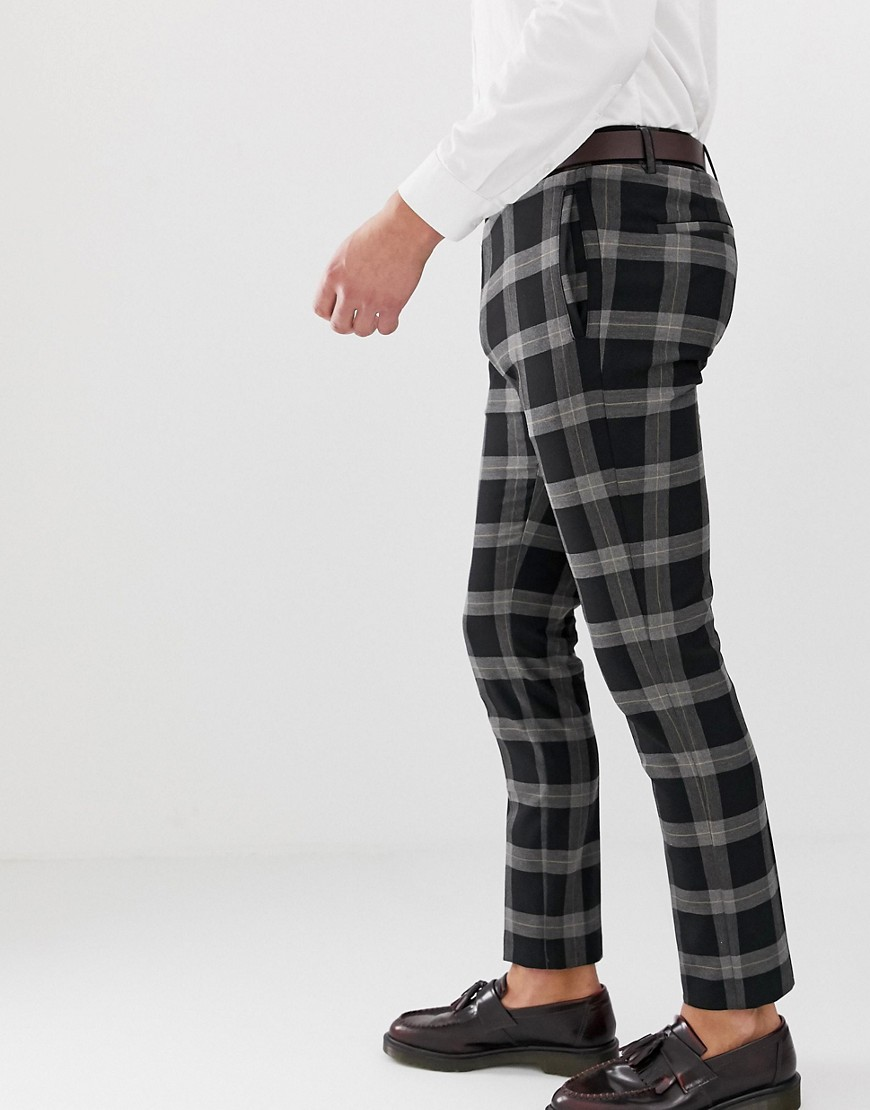 River Island Check Pants In Black by River Island