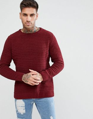 River Island Crew Neck Jumper With Waffle Stitch In Burgundy