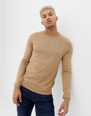River Island crew neck knitted sweater in tan