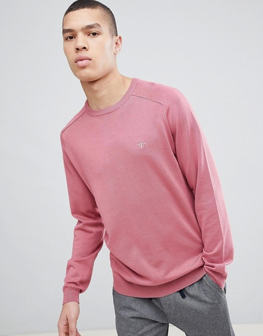 Image 1 of River Island Crew Neck Sweater With Wasp Embroidery In Pink