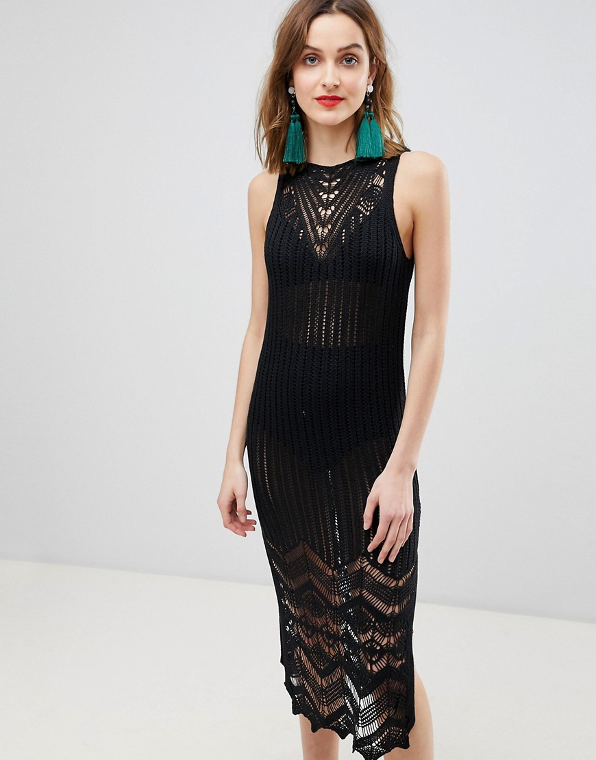 River Island Crochet Knitted Midi Dress-Black - River Island online sale