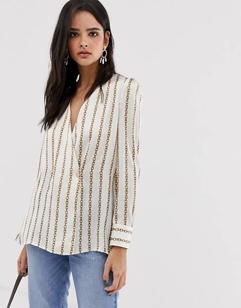 River Island crossover blouse in stripe