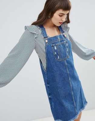 River Island Denim Dungaree Dress