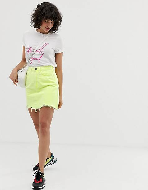 River Island denim mini skirt in neon yellow