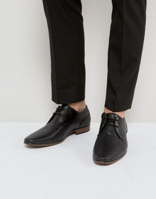 River Island Derby Shoes With Perforated Detail In Black