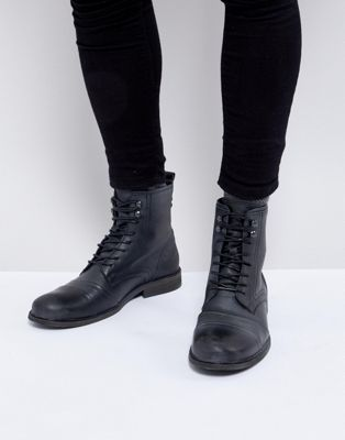 River Island Distressed Military Boot In Black