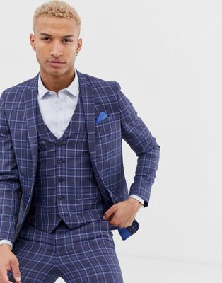 River Island double breasted suit jacket in blue check