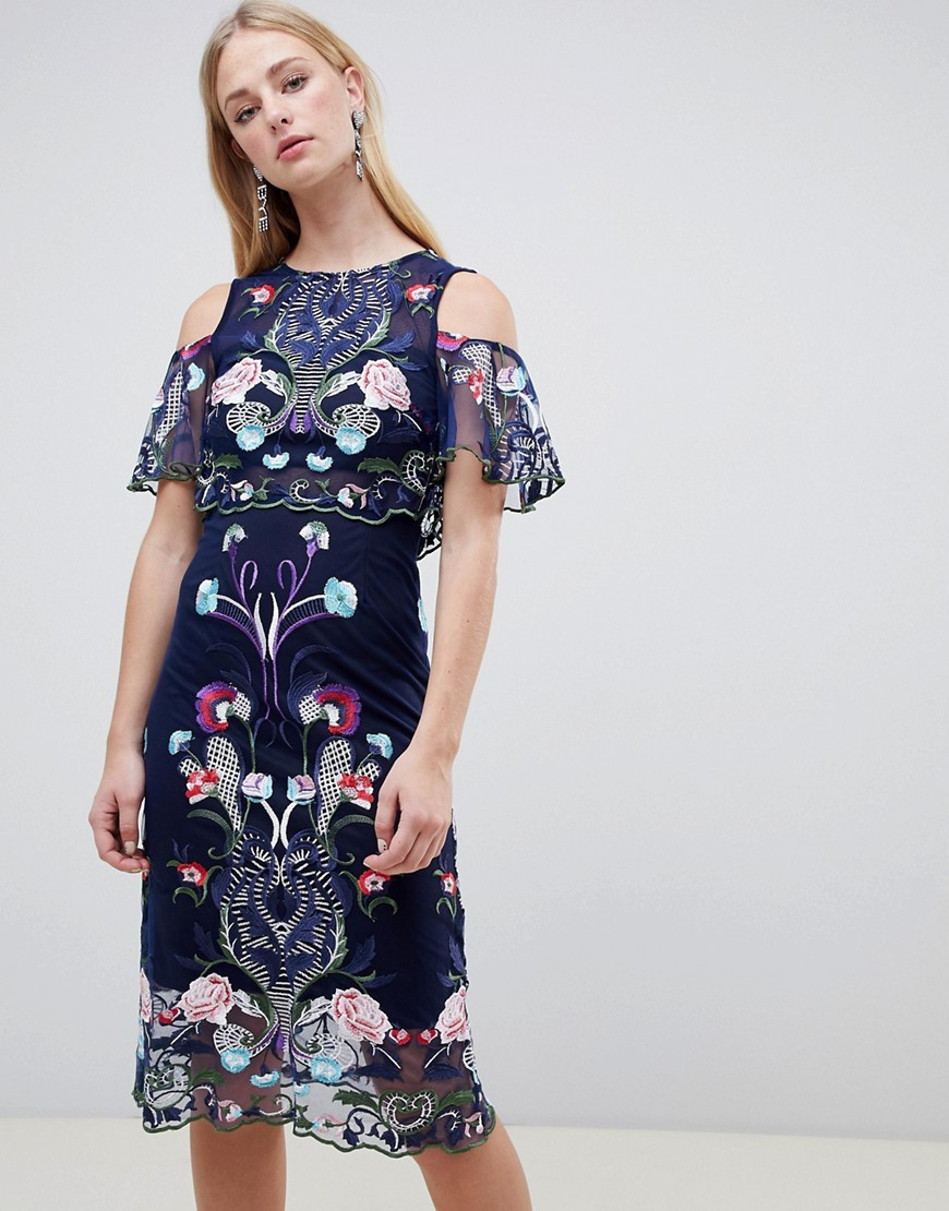 River Island Double Layer Embroidered Mesh Dress-Navy - River Island online sale