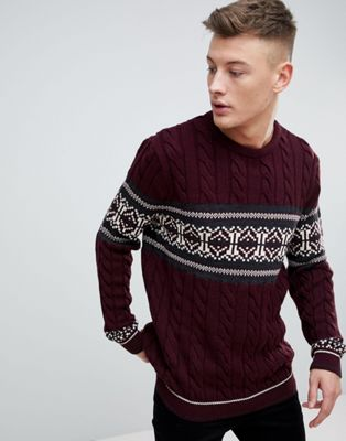 River Island Fairisle Jumper In Burgundy
