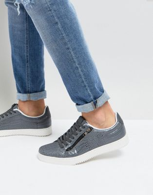 River Island Faux Croc Sneakers With Zips In Grey