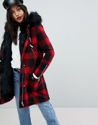 River Island Faux Fur Check Parka Coat