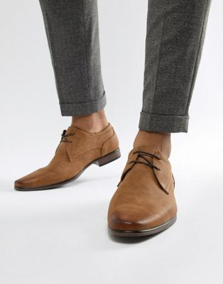 River Island faux leather lace up shoes in tan