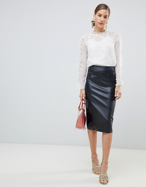 23f6ff069 River Island faux leather midi pencil skirt in black | ASOS