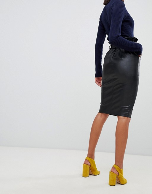 cf49128ea River Island faux leather midi skirt in black | ASOS