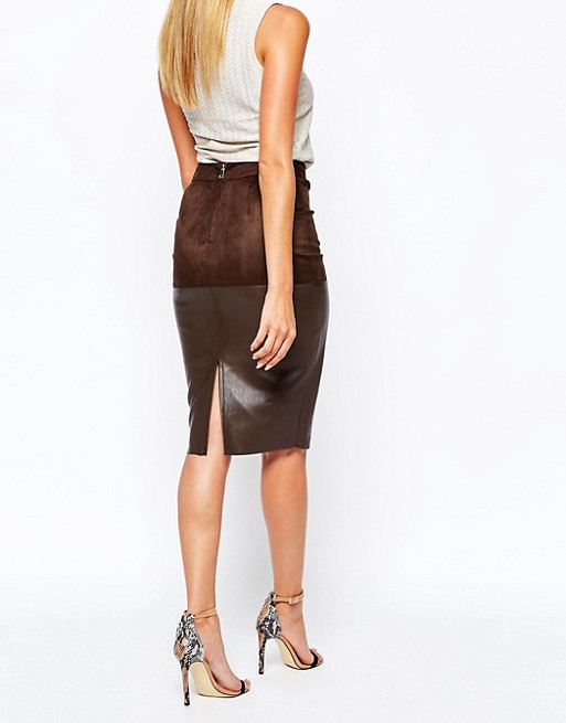 8137ecb71 River Island Faux Leather Mix Pencil Skirt | ASOS