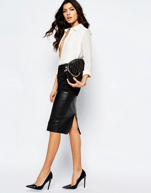 14f5469ca River Island Faux Leather Pencil Skirt | ASOS