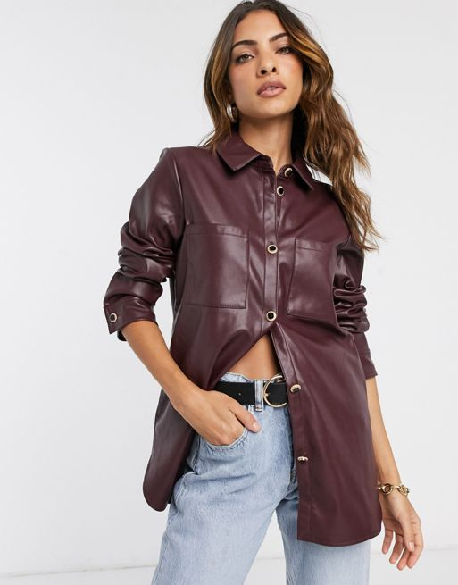 River Island faux leather shirt in red | ASOS