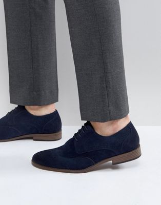 River Island Faux Suede Lace Up Shoes In Navy