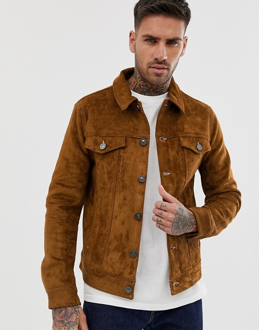 River Island faux suede western jacket in brown