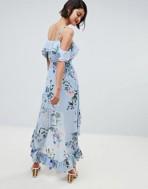 475d4829d3eb River Island Floral Print Cold Shoulder Midi Dress