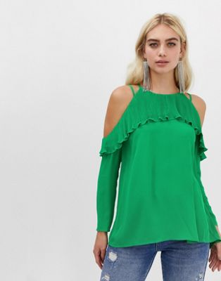 River Island Frill Cold Shoulder Blouse