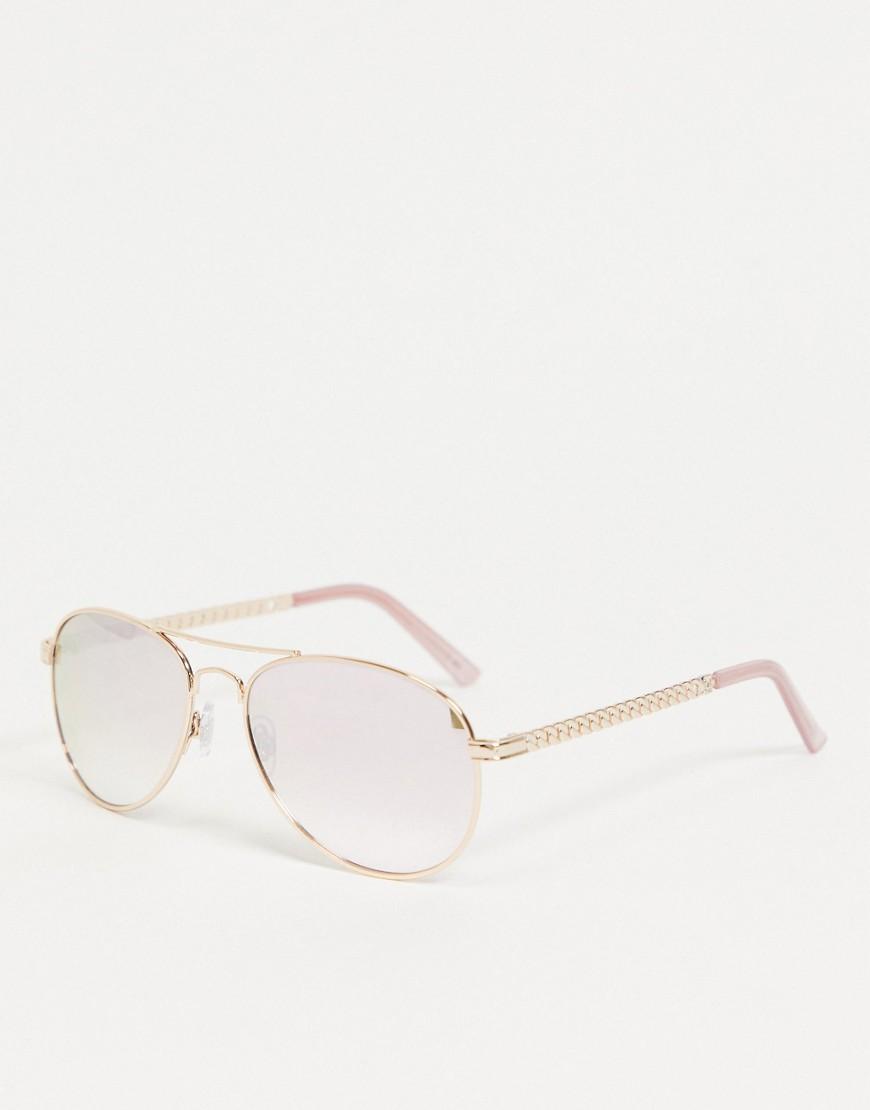 River Island - Guldfarvede retro solbriller med gennemsigtige glas