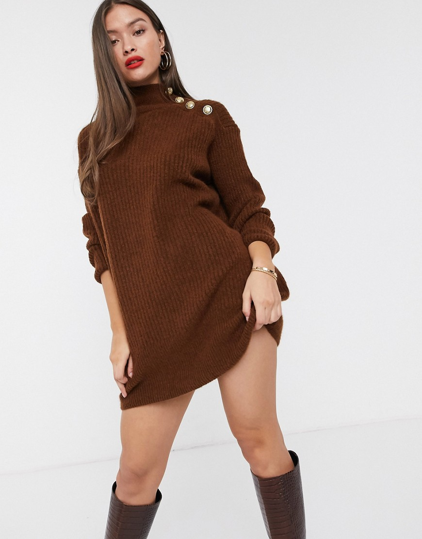 River Island high neck sweater dress with buttoned shoulder in toffee-Brown - River Island online sale